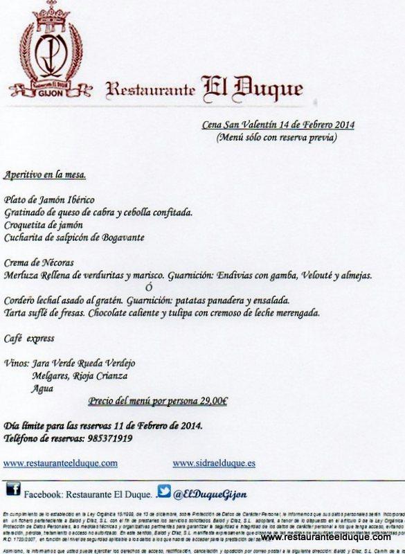 El Duque Restaurante Bodas Llagar Menus Especiales
